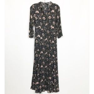 NWT Zara Woman Floral Maxi Dress Button Front